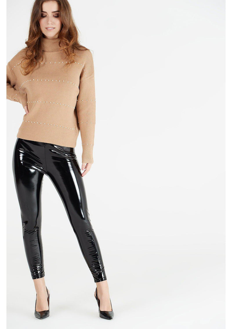 Black Vinyl High Waisted Leggings