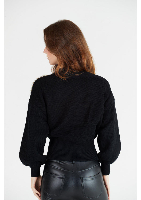 Black Wrap Cardigan with Pearl Shoulder Detail