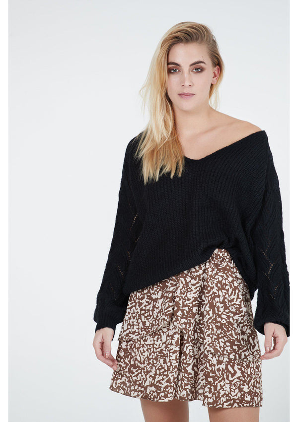 Brown Patterned Mini Skirt