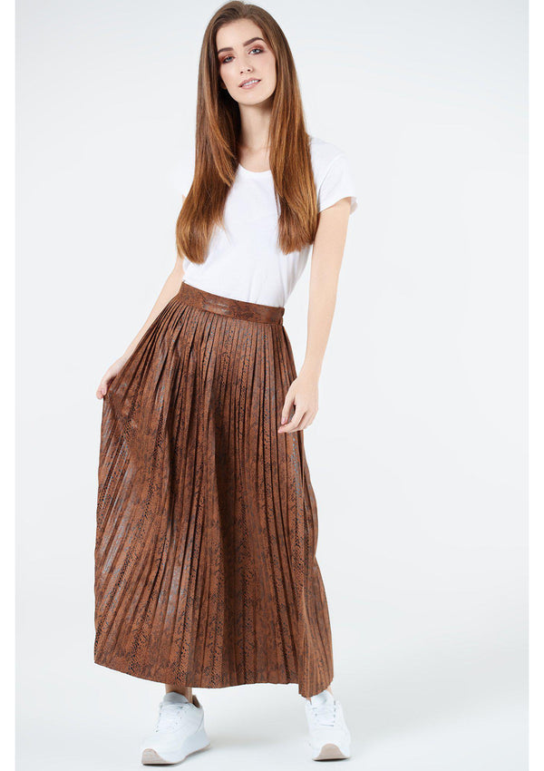 Snake Effect Pleated Skirt
