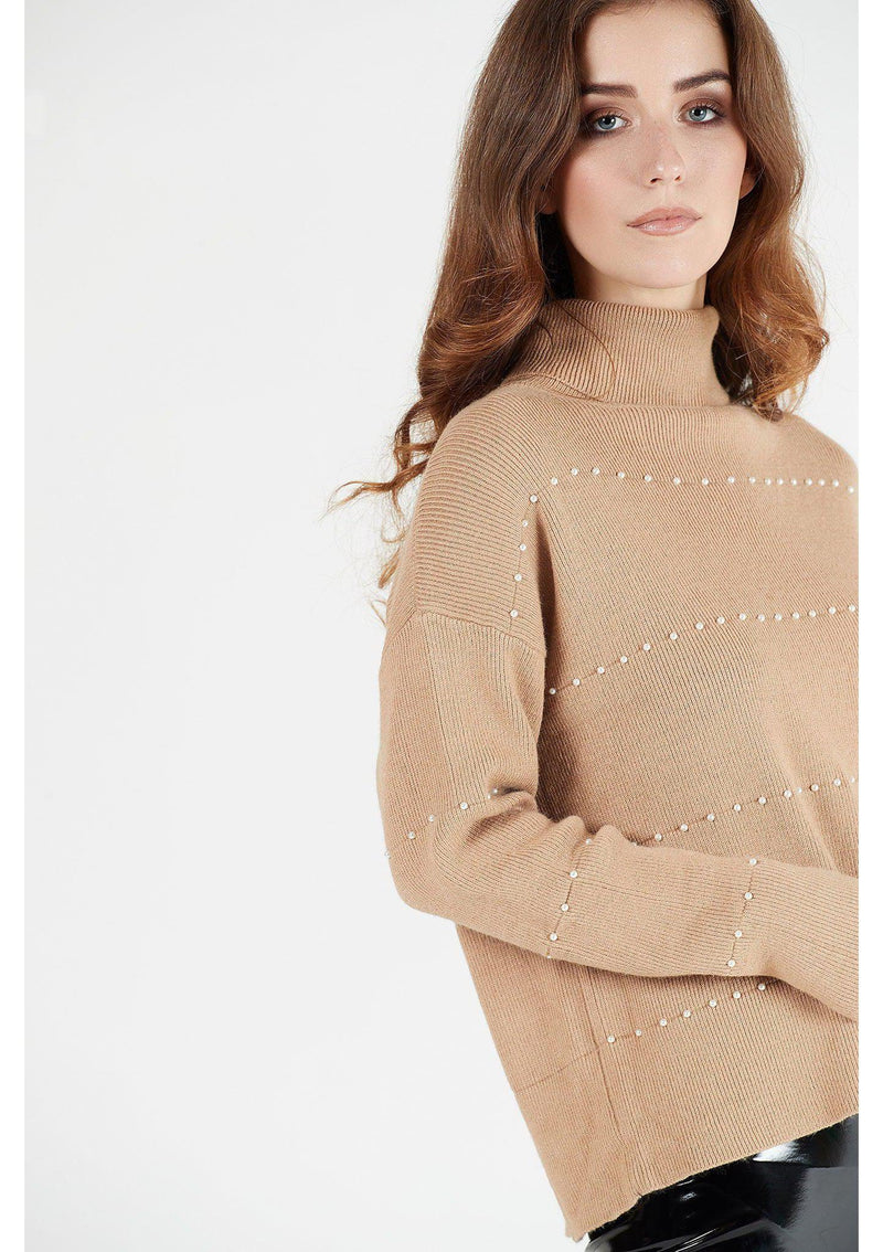 Camel Roll Neck Jumper with Pearl Detail