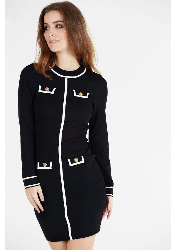 Chanel Style Monochrome Knit Dress