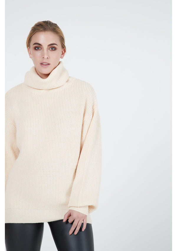 Cream Chunky Roll Neck Jumper