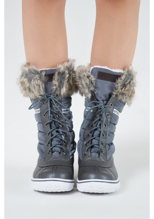 Grey Fur Trim Moon Boots