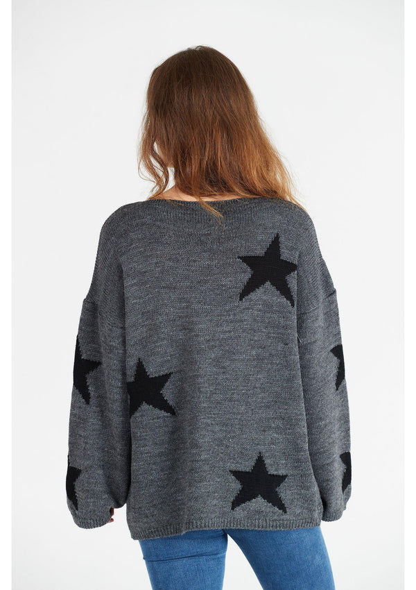 Grey Jumper with Black Star Detail