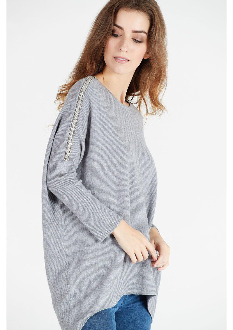 Oversized Top with Diamante  Sleeve Detail