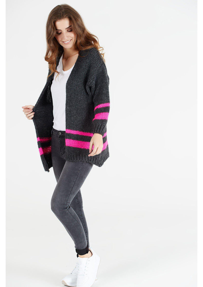 Grey with Pink Stripe Cardigan