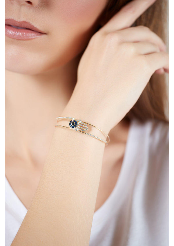 Hamsa Gold Bangle