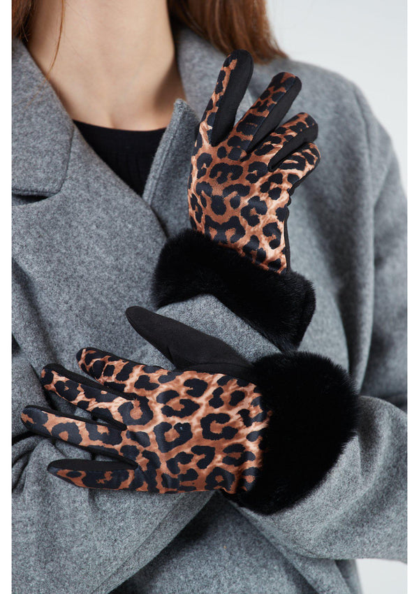 Leopard Print Fur Cuff Gloves