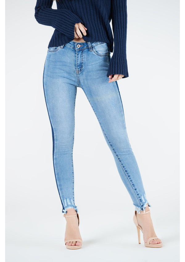 Light Denim Distressed Ankle Jeans