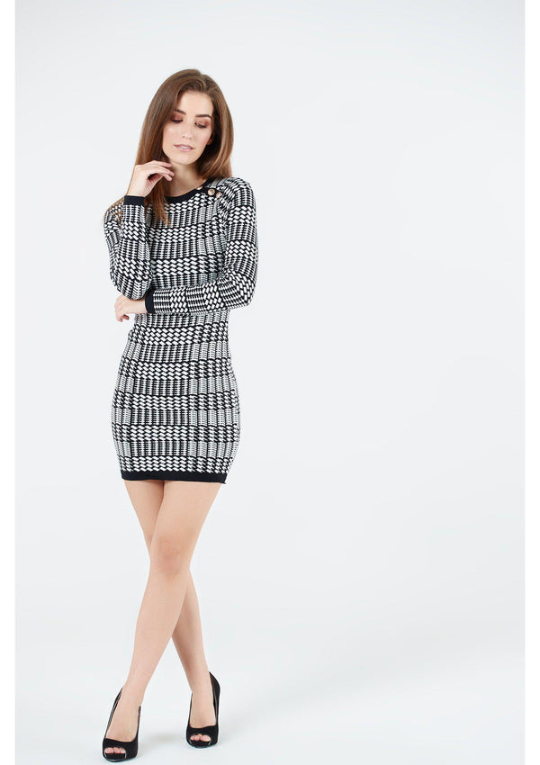 Monochrome Houndstooth Dress