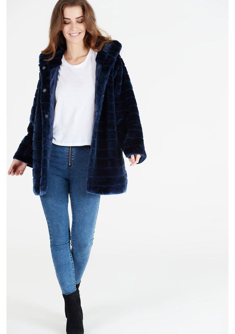 Faux Fur Panelled Hooded Jacket