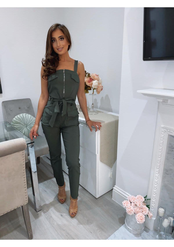 Forest Green Front Zip Jumpsuit
