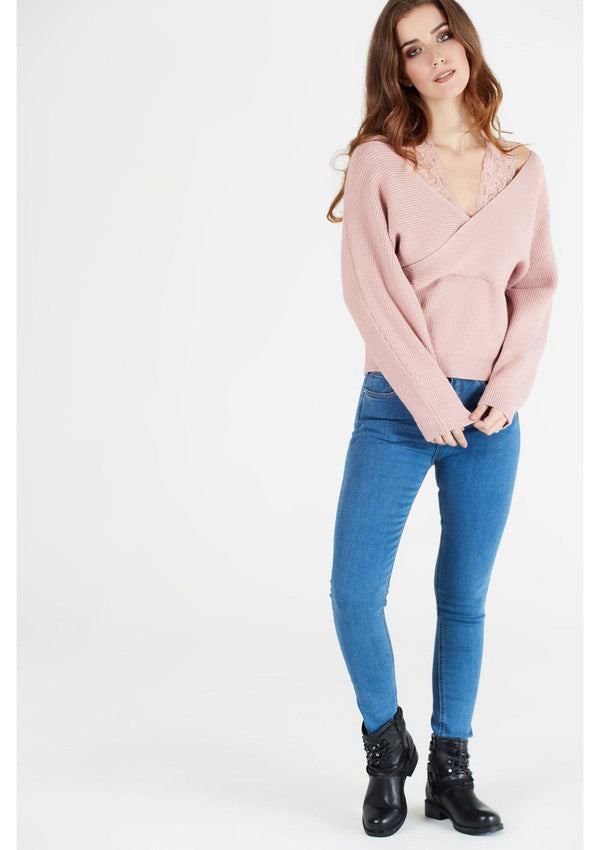 Pink Crossover Jumper with Lace Strap Detail