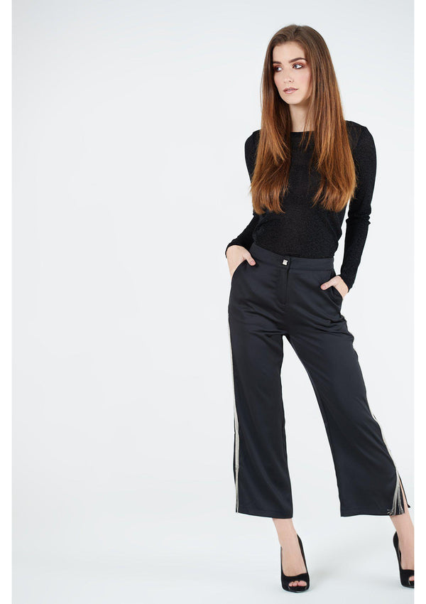 Satin Trousers With Chain Detail