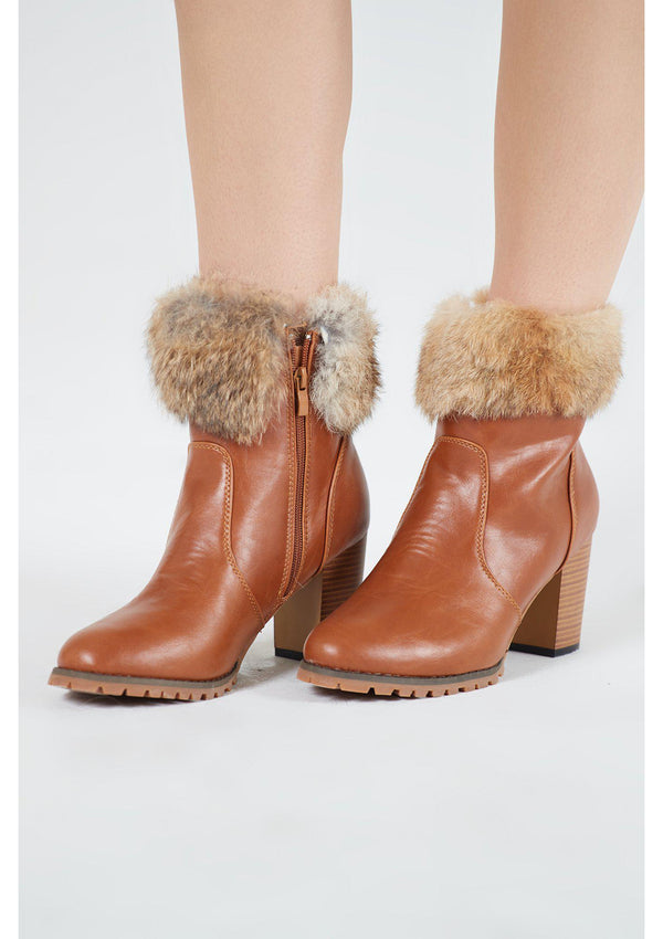 Tan Fur Trim Boot