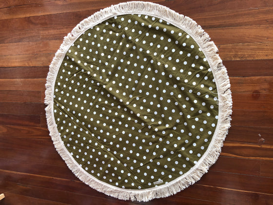 Reversible Round Baby Belly Rug -  Khaki Polka Dots & Natural