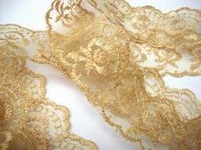 Load image into Gallery viewer, Gold Coloured Vintage Scalloped Edge Lace Trimming Edging 45mm Width