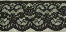 Load image into Gallery viewer, Black Vintage Scalloped Edge Lace Trimming Edging 63mm Width