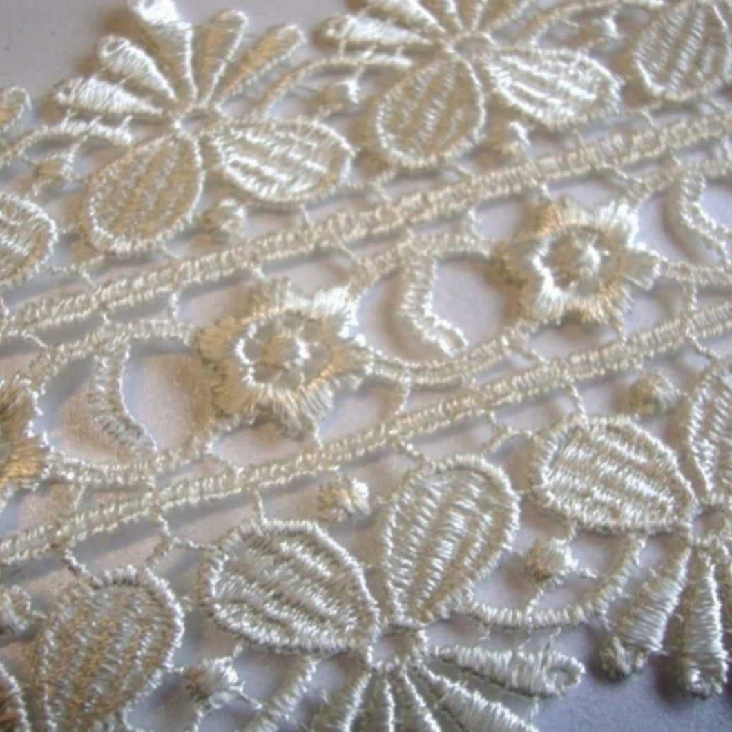Cream Ivory Lace Trimming Edging 85mm Guipure Vintage Heavyweight