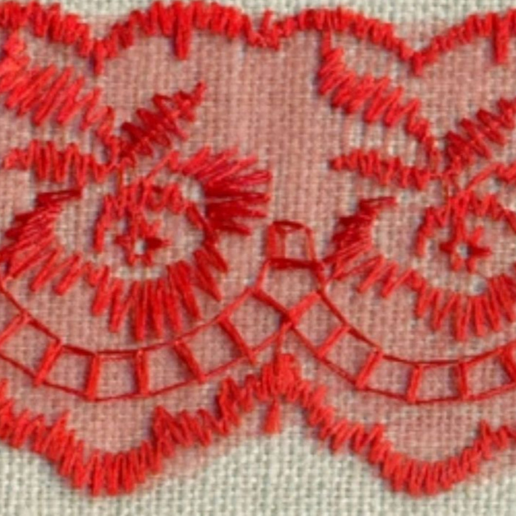 Red Coloured Vintage Scalloped Edge Lace Trimming Edging 45mm Width
