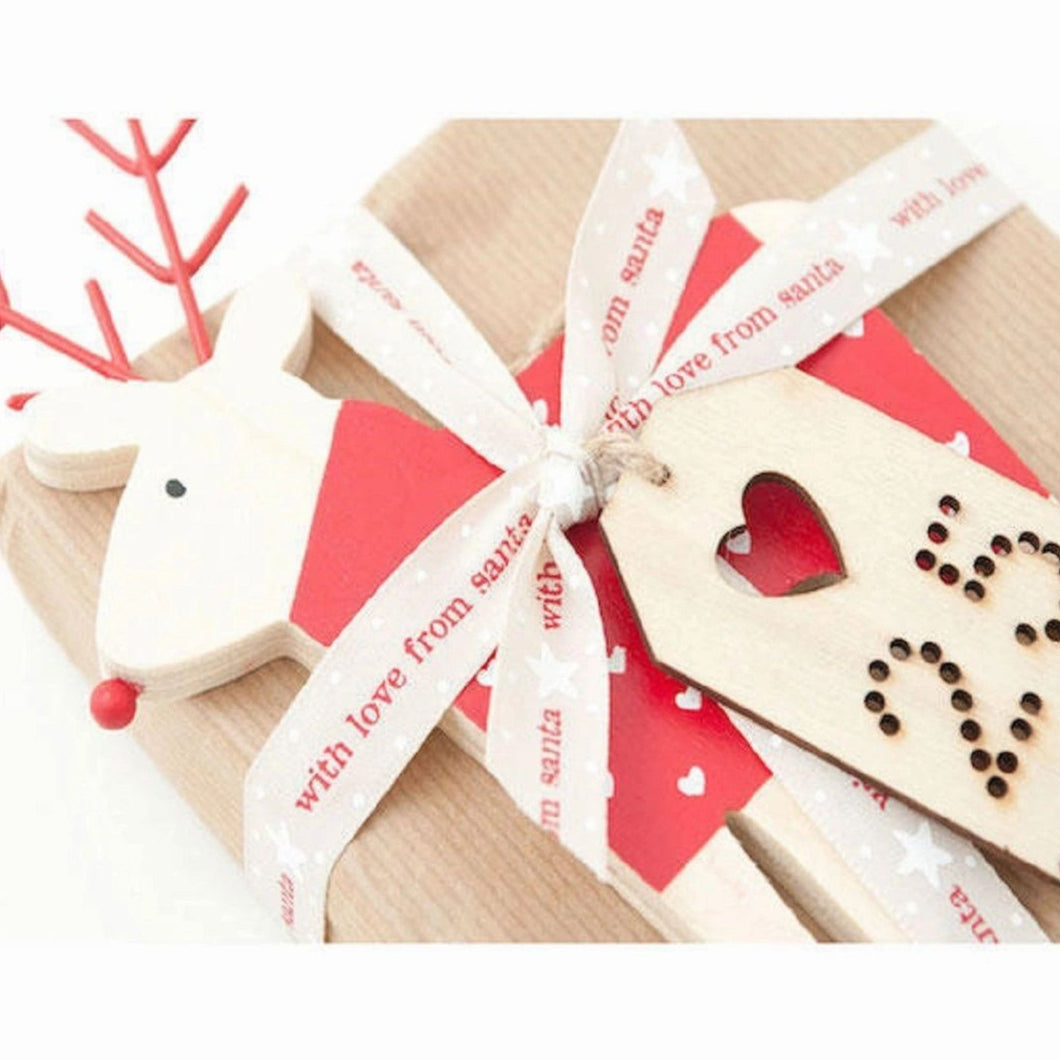 Natural Oatmeal With Love From Santa Christmas 15mm Width Ribbon