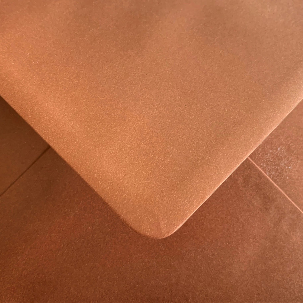 C6 Metallic Copper Envelopes Pearlescent Gummed Diamond Flap 100gsm