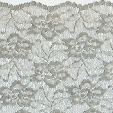 Grey Vintage Scalloped Edge Stretch Lace Trimming Edging 145mm Width