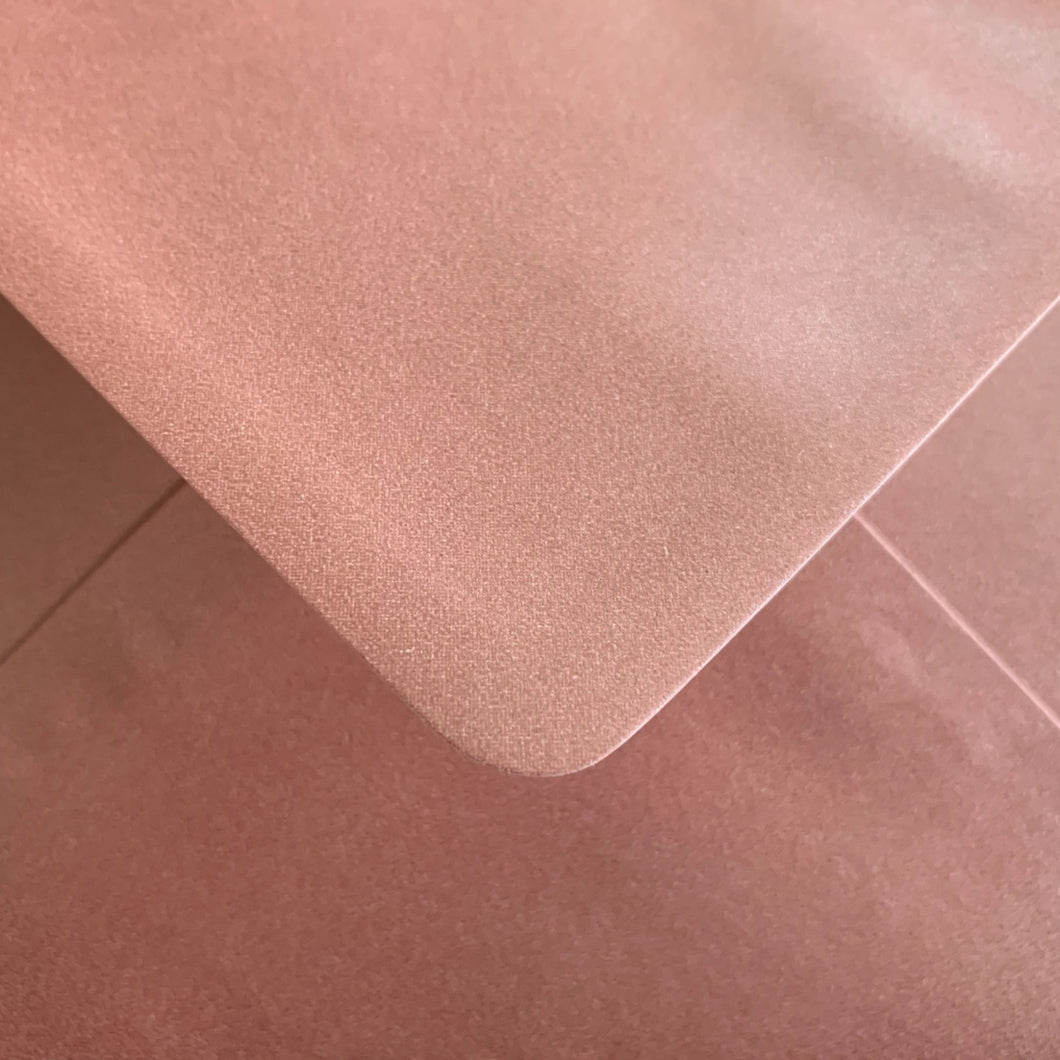C6 Rose Gold Envelopes Pearlescent Gummed Diamond Flap 100gsm