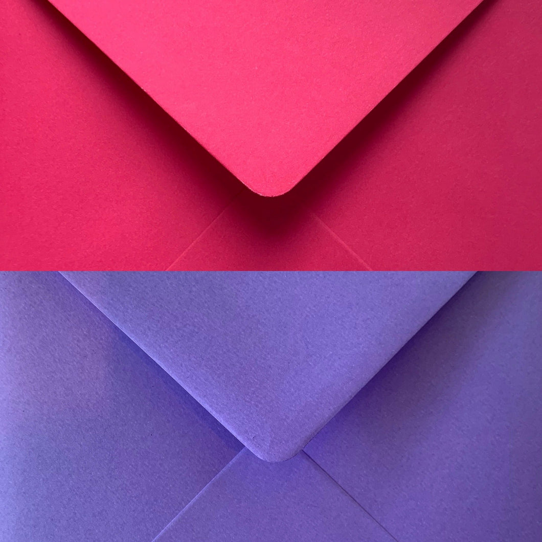 6x6 Square Pink & Purple Gummed Envelopes 100gsm - Mixed Pack