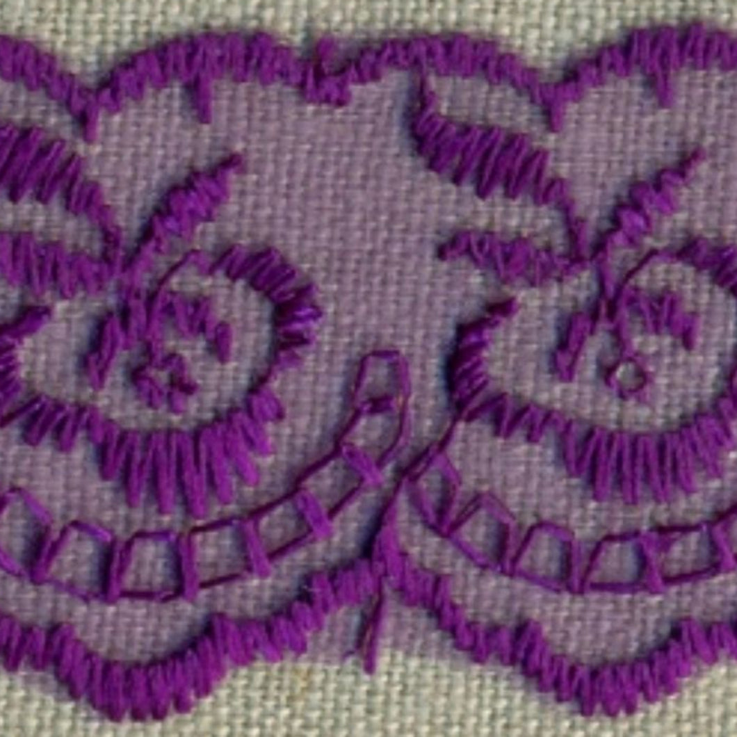 Purple Coloured Vintage Scalloped Edge Lace Trimming Edging 45mm Width