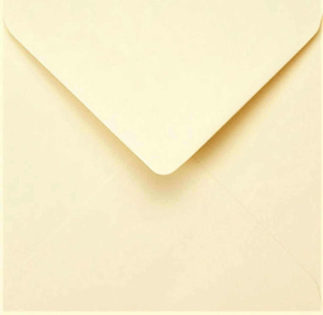 165mm x 165mm Square Cream Envelopes Gummed Diamond Flap 100gsm