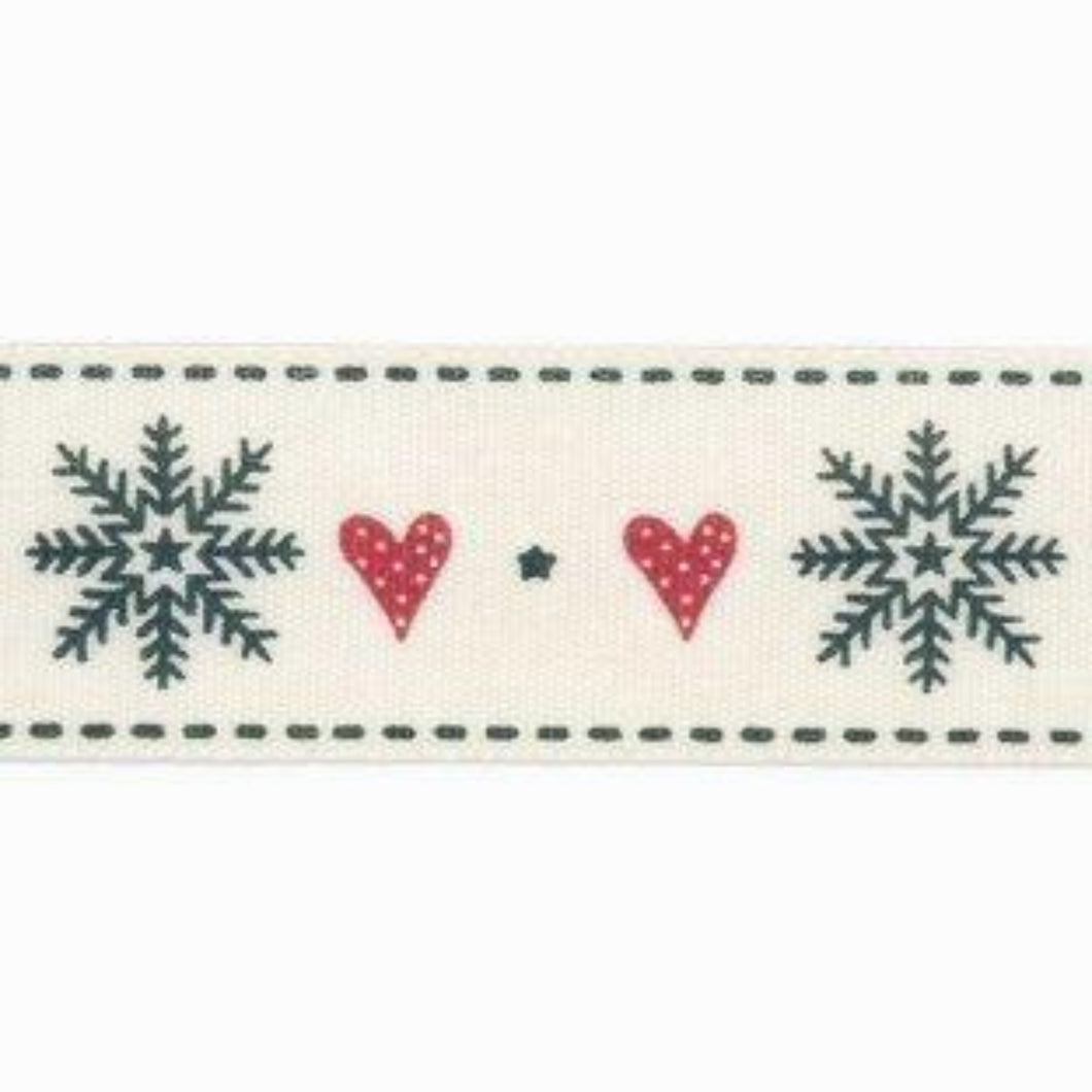 Snowflake and Heart Printed Christmas 25mm Width Ribbon