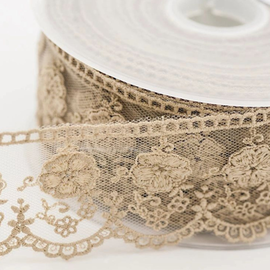 Natural Beige Vintage Tulle Lace Trimming Edging 50mm Width