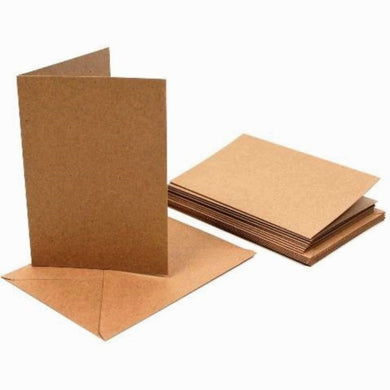 A6 Kraft Cards and C6 Envelopes - Creased Card Blanks 280gsm