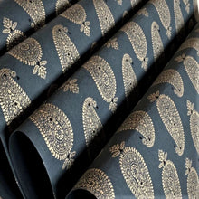 Load image into Gallery viewer, Black and Gold Luxury Paisley Handmade Gift Wrapping Paper 700mm x 500mm Sheets