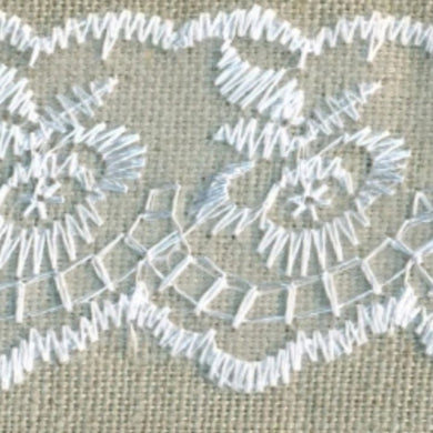 White Vintage Scalloped Edge Lace Trimming Edging 45mm Width