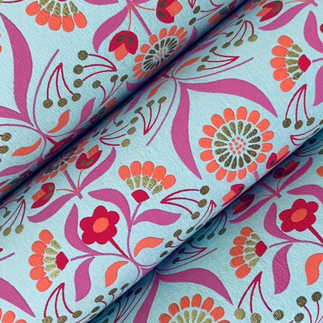 Pink and Blue Luxury Floral Recycled Gift Wrapping Paper 700mm x 500mm