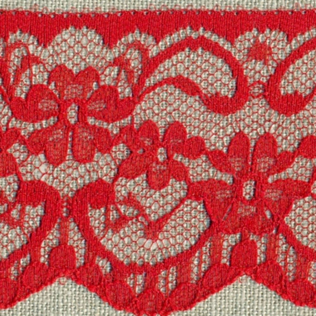 Red Vintage Scalloped Edge Lace Trimming Edging 63mm Width Flat Nylon Lace