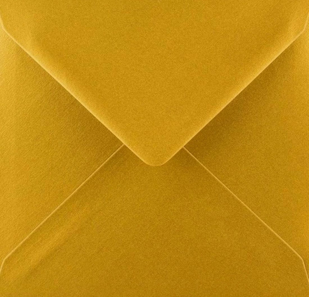 5x5 Metallic Gold Square Envelopes Gummed Diamond Flap 100gsm