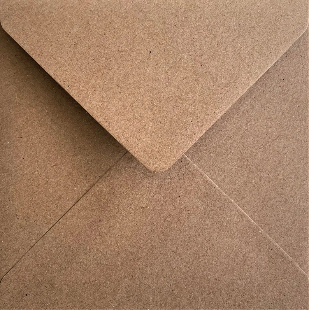 165mm x 165mm Square Kraft Envelopes Recycled Fleck Gummed Diamond Flap 110gsm