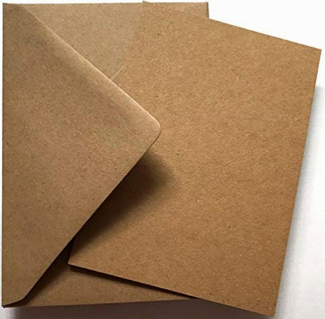 A6 Kraft Card and C6 Envelopes - Single Sided Postcard Blanks 280gsm