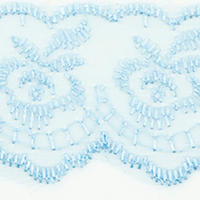 Baby Blue Coloured Vintage Scalloped Edge Lace Trimming Edging 45mm Width