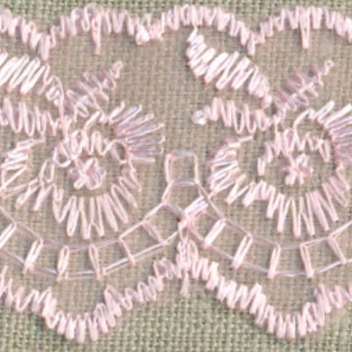 Baby Pink Coloured Vintage Scalloped Edge Lace Trimming Edging 45mm Width