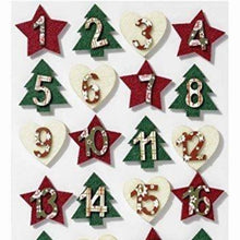 Load image into Gallery viewer, Advent Numbers Christmas Countdown Festive Arts and Crafts DIY Self Adhesive Felt Hearts Stars and Trees