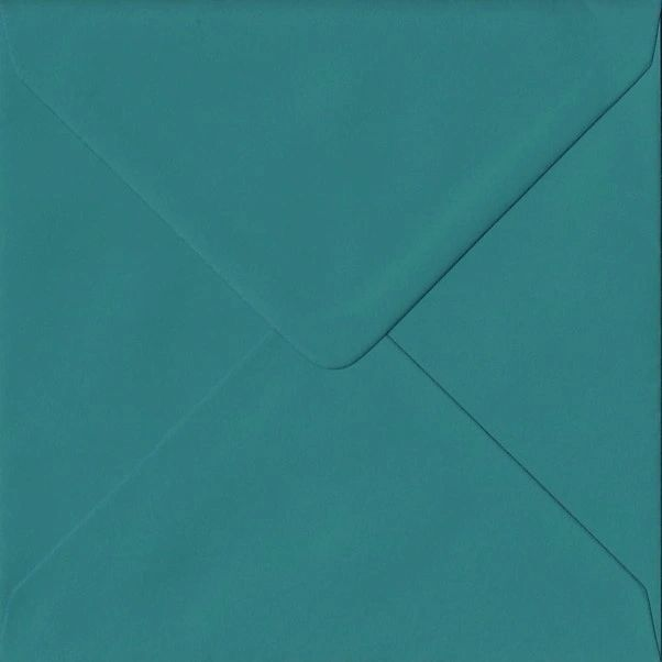 6x6 Teal Coloured Square Envelopes Gummed Diamond Flap 100gsm