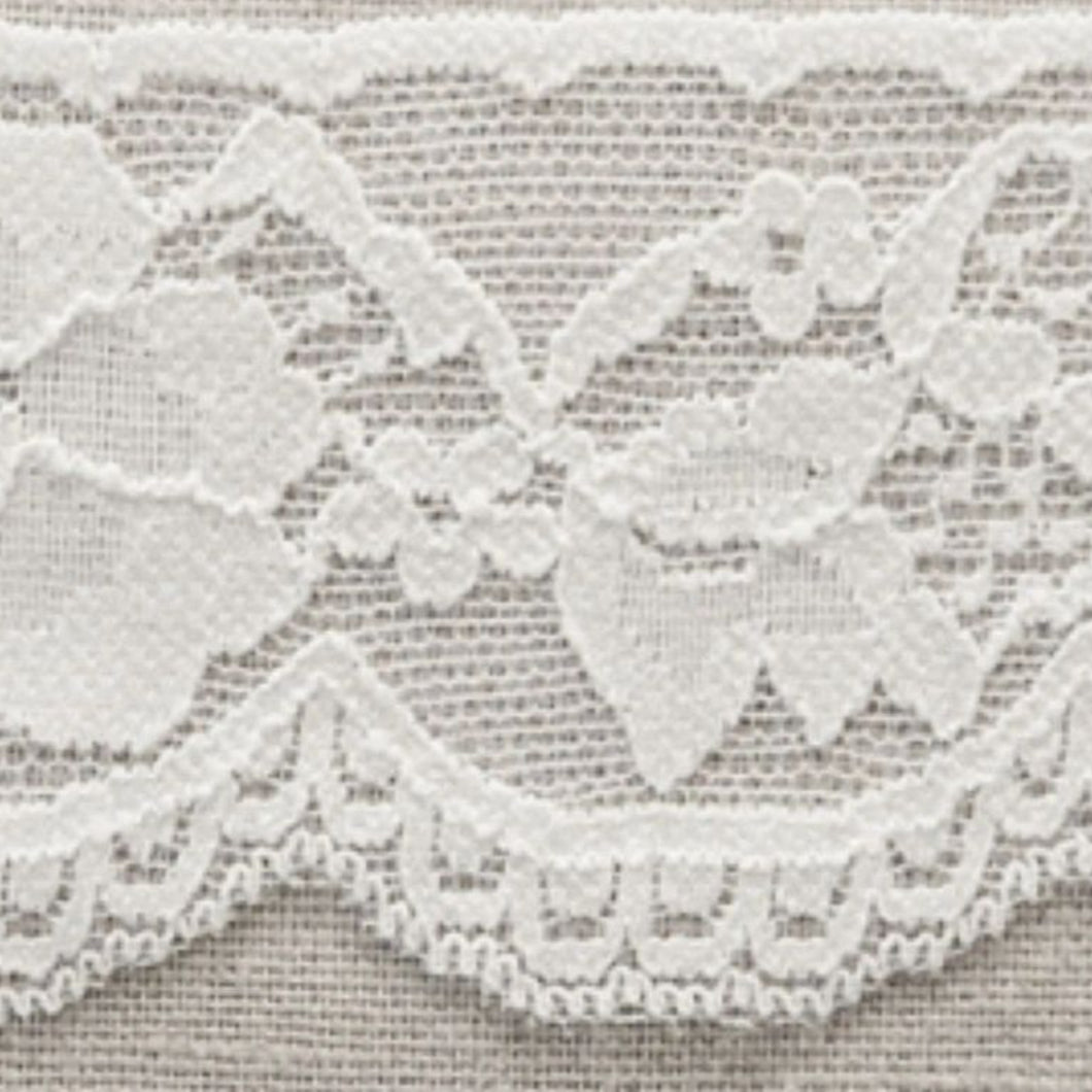 White Vintage Scalloped Edge Stretch Lace Trimming Edging 58mm Width