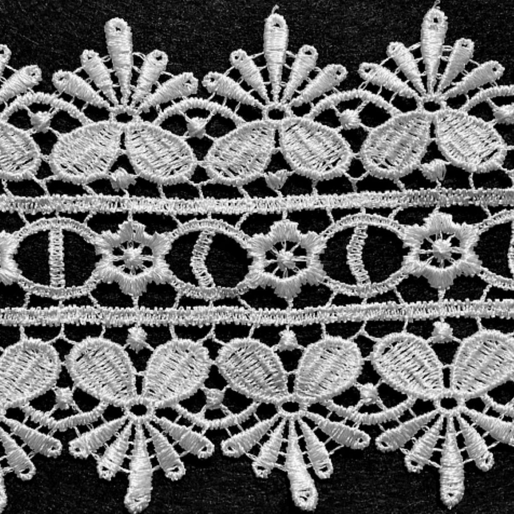 White Lace Trimming Edging 85mm Guipure Vintage Heavyweight
