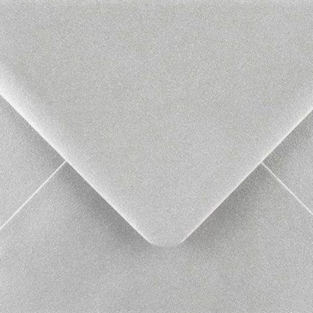 C6 Metallic Silver Envelopes Gummed Diamond Flap 100gsm
