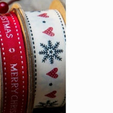 Load image into Gallery viewer, Snowflake and Heart Printed Christmas 25mm Width Ribbon
